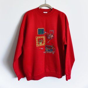 VINTAGE Acorn Leisure Red Pullover Aplique Garden